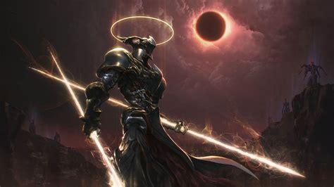 Epic Anime Demons Warrior Artwork Digital Cyborg Solar Eclipse