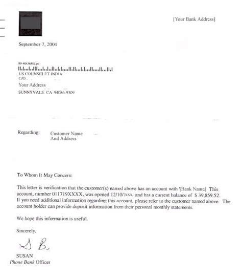 sample bank account verification letter