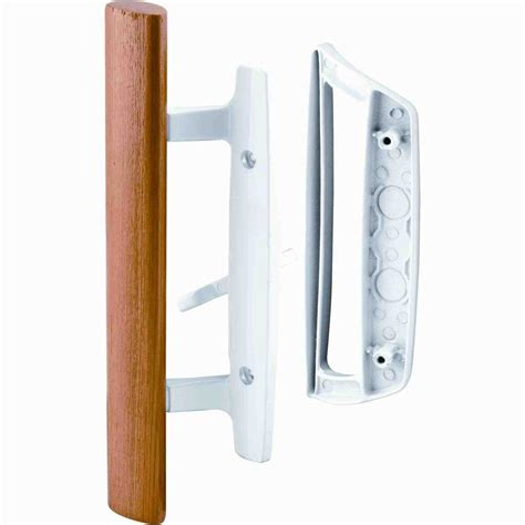 prime line patio door handle set with wooden handle