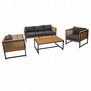 Canape De Jardin En Bois : salon de jardin bas v gas aluminium bois 1 canap 2 fauteuils 1 table gamm vert ~ Dallasstarsshop.com Idées de Décoration