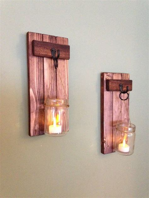 rustic home decor wooden candle holder mason jar candle