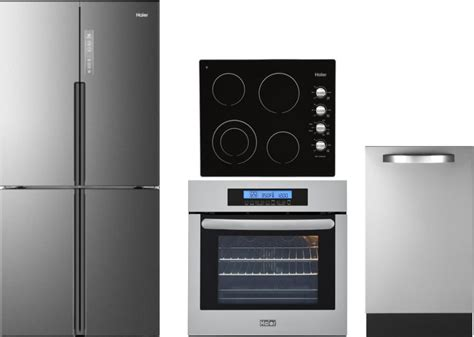 haier harectwodw  piece kitchen appliances package  french door refrigerator