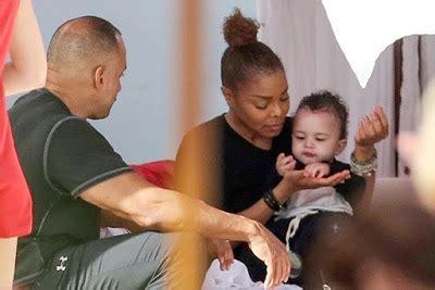 janet jackson pictured feeding  baby son eissa  miami