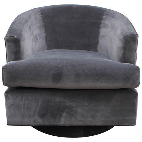 fabulous pair of fully upholstered barrel back grey swivel