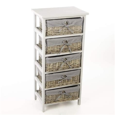 chambre en osier meuble en bois 5 tiroirs paniers en osier avec housses