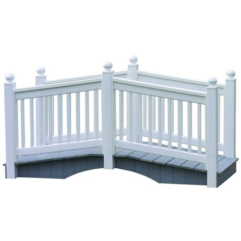 outdoor white vinyl bridge with vekadeck flooring