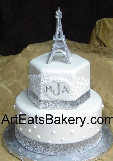 eiffel tower cake stand two tier custom white fondant birthday cake with monogram