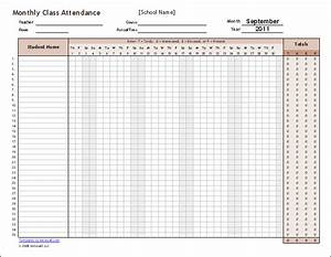 download the monthly class attendance template from With templates by vertex42 com