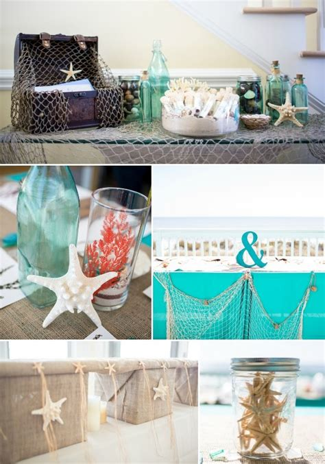 Picture Of Diy Beach  Ee  Wedding Ee   Inral And Turquoise