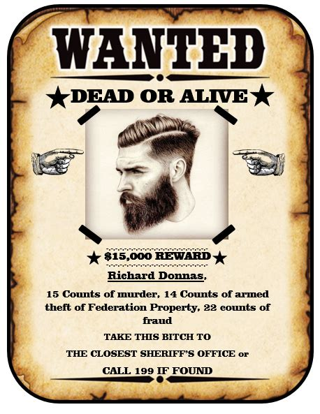 Wanted Dead Or Alive Poster Template Free by 13 Free Wanted Poster Templates Printable Docs