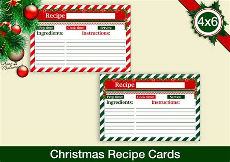 christmas recipe cards  recipe cards printable recipe