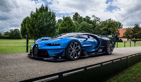 Bugatti claims that the chiron makes the dash from zero to 60 mph in a mere 2.3 seconds, and it has a top speed of 261 mph. Bugatti Vision Gran Turismo Blue Side View - 1024x600