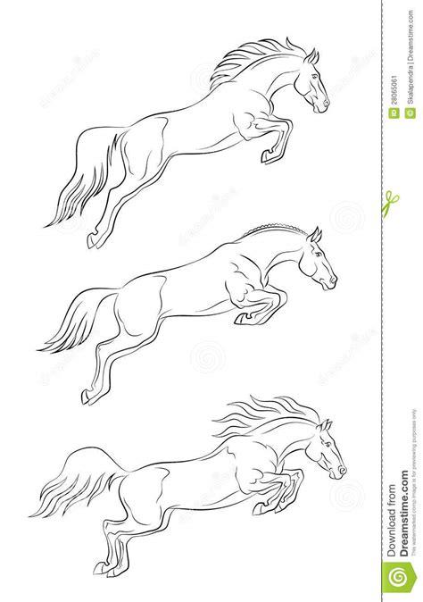 Kleurplaat Paardrijden Springen by Het Springen Paard Vector Illustratie Illustratie