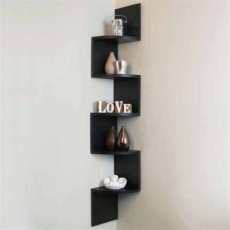 black wall shelf 5 tier black wall mounted zigzag corner floating shelf