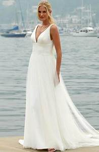 white beach wedding dress With white linen wedding dress