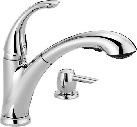 delta 174 pixa pull out kitchen faucet with soap dispenser