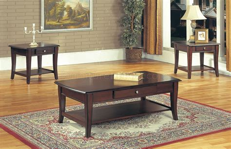 classic dark brown coffee table end tables 3pc w drawer