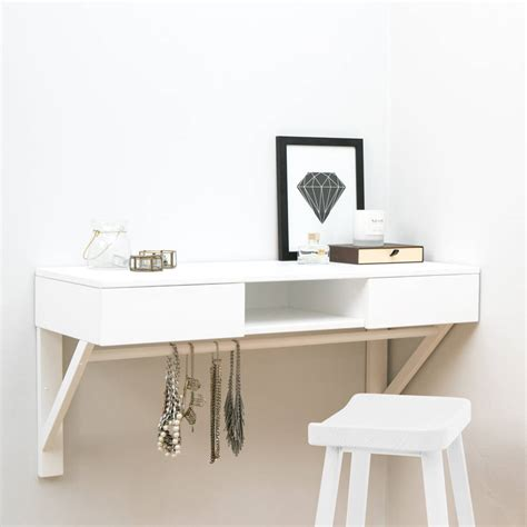 floating makeup vanity floating dressing table with drawers and jewellery rail by