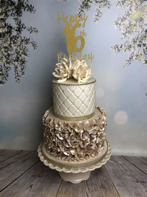 Turning 16 is such a huge milestone for teenagers! Champagne Ruffles 16th Birthday Cake - Mel's Amazing Cakes