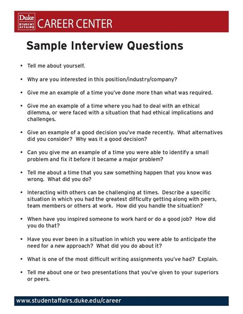good questions to ask during a job interview career center sample interview questions tell me about