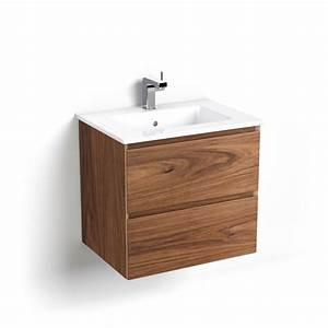Meuble Salle De Bain Noyer : meuble salle de bain 61cm bois noyer vasque c ramique cordoue ~ Melissatoandfro.com Idées de Décoration