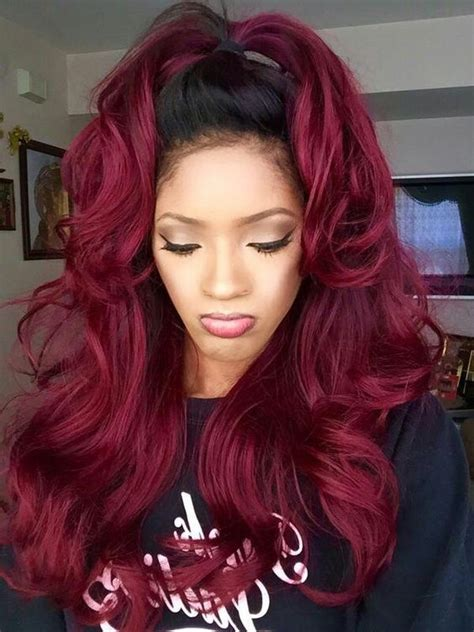 Wine Red Wiglong Ombre Wig Black To Wine Red Body Wave