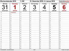 Wochenkalender 2019 als WordVorlagen zum Ausdrucken