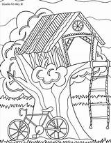 Coloring Pages Summer Tree Treehouse Doodle Colouring Sheets Alley Trees Fun Printable Adults Camping Sheet Landscape Birdhouses Adult Treehouses Houses sketch template
