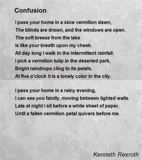 confusion poem by kenneth rexroth poem