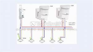Branchement Detecteur De Mouvement : schema de deux detecteurs de mouvement avec 5 lampes youtube ~ Dailycaller-alerts.com Idées de Décoration
