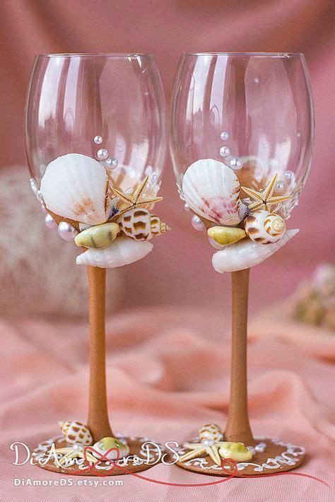 sea wedding wine glasses beige  white toasting