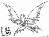 Ben Coloring Pages Alien Flying Force Printable Adults Bettercoloring sketch template