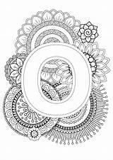 Mindfulness Coloring Alphabet Colouring Letter Letters Adult Sheets Patterns Mandala Sunflower Visit Doodle sketch template