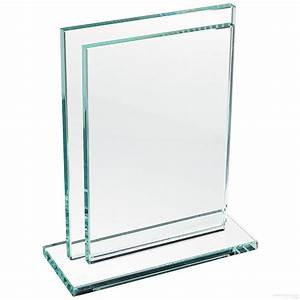 Deco solid glass sleeve frame w base 39floats39 your 5x7 for Engraved digital photo frame