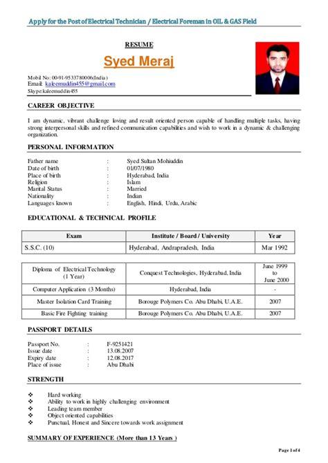 resume format electrical foreman