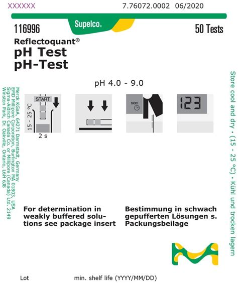 pH Test reflectometric, pH-range 4.0 - 9.0, for use with ...