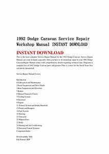 1992 Dodge Caravan Service Repair Workshop Manual Instant