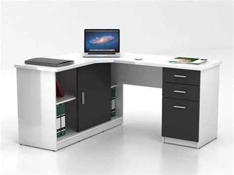bureau dangle bureau d 39 angle norwy 2 portes 2 tiroirs blanc gris