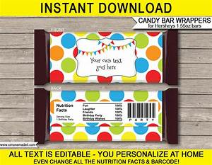 Polkadot hershey candy bar wrappers personalized candy bars for Personalized chocolate bar wrappers template