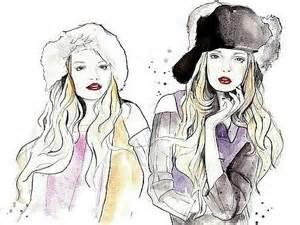 Girls Fashion Friends Drawing