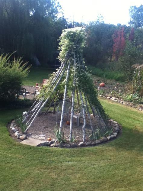 love  idea  making  teepee  tree branches