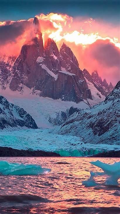 Kindle Fire Mountain Orange Snowy Sky Wallpapersafari