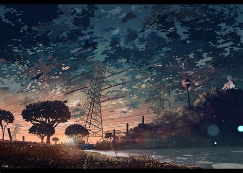 anime clouds trees lake sunset wallpapers hd desktop