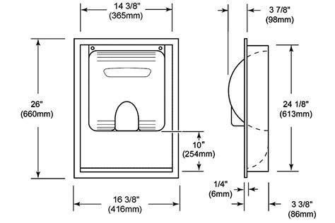 ada shower niche height xlerator recess kit excel dryer recess kit 40502
