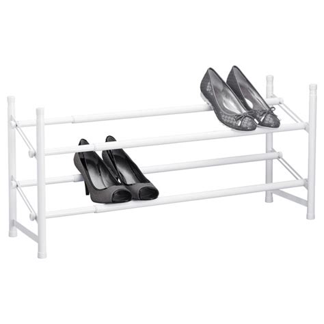 white shoe rack white 2 tier adjustable shoe rack the container