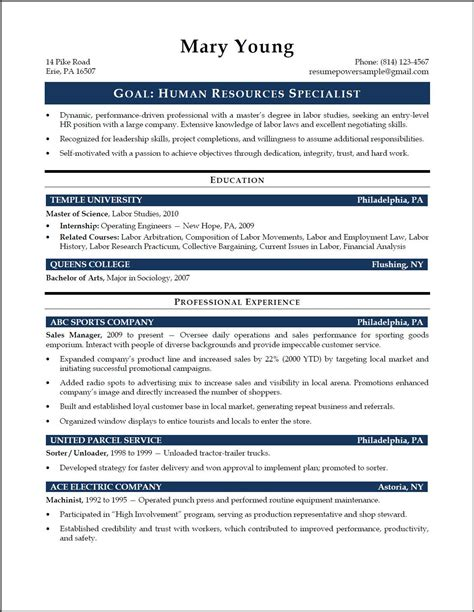 entry level human resources resume writing resources