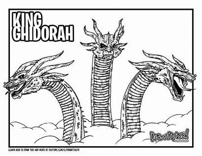 Ghidorah King Godzilla Coloring Draw Drawing Monsters