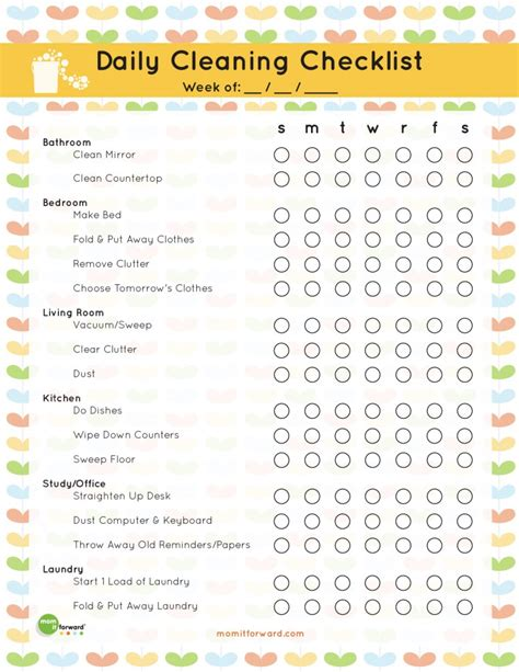 cleaning list the best free printable cleaning checklists titus