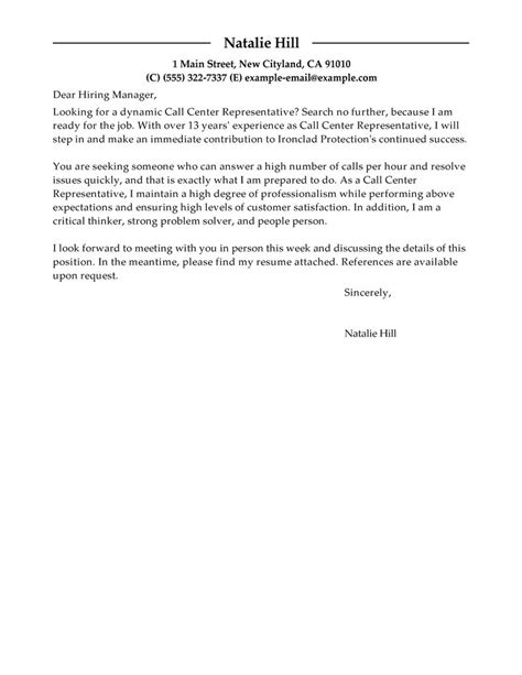 Call Center Cover Letter by Outstanding Call Center Representative Cover Letter