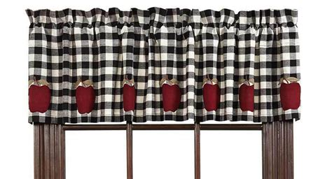 valance curtains black white check lined kitchen applique
